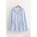 Cartoon Girl Embroidered Long Sleeve Drawstring Zip Up Hooded Bow Tied Pockets Relaxed Fit Cute Jacket