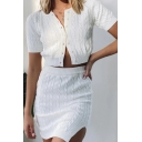 Stylish Womens Solid Color Button Closure Collarless Short Sleeve Cable Knit Slim Fit Crop Cardigan Sweater & Elastic Waist Mini Bodycon Slit Skirt Set