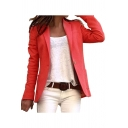 Fashion Womens Plain Single Button Lapel Long Sleeve Fitted Blazer with Pockets