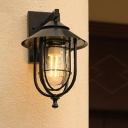 Capsule Outdoor Wall Light Retro Style Clear Glass 1 Head Weathered Copper/Black Wall Mount Lamp with Wire Cage