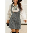 Vintage Plaid Printed Double Breasted Mini A-Line Overall Dress for Women