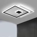 Square Living Room Ceiling Flush Mount Metallic 16.5