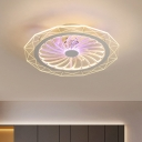 Geometric Acrylic Hanging Fan Light Modernist LED Clear Semi Flush Mount for Bedroom, 20
