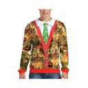 Mens 3D Pullover Sweatshirt Simple Christmas Tree Button Suit Tie Pattern Round Neck Cuffed Long Sleeve Slim Fitted Pullover Sweatshirt