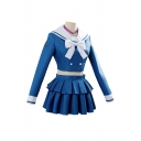 Anime Cosplay Contrasted Long Sleeve Bow Tied Sailor Collar Double Breasted Slim Crop Top & Bi-layered Mini Pleated Skirt Set in Blue