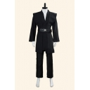 Vintage Mens Long Sleeve Deep V-neck Belted Fit Jacket & Ankle Straight Pants Set
