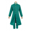 Green Anime Long Sleeve Contrasted Stand Collar Button Up Slit Long Regular Jacket & Straight Pants Co-ords for Guys