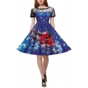 Womens Christmas Theme Round Neck Short Sleeve Hollow Lace Pleated Fit Midi Dress