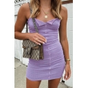 Sexy Plain Knitted Spaghetti Straps Press Button up Plain Mini Sheath Slip Dress in Purple