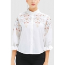 Retro Womens Floral Embroidered Button down Pleated Stand Collar Flare Cuff Sleeve Regular Fit Shirt