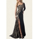 Womens Black Hot Stamping Single Sleeve Oblique Shoulder High Slit Maxi Flowy Banquet Dress