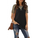 Fashion Womens Leopard Printed Patched Short Sleeve Round Neck Slit Side Relaxed T Shirt