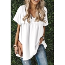 Leisure Solid Color Short Sleeve V-neck Ruched Relaxed Fit T Shirt for Women