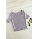 Popular Solid Color Button Ruffle Trim Short Sleeve Scoop Neck Slim Fit Crop Tee for Womens