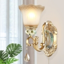 Traditional Flower Shade Wall Light Sconce 1/2 Head Tan Glass Wall Mounted Lamp in Gold