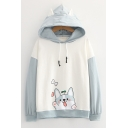 Kawaii Dog Printed Contrasted Long Sleeve Drawstring Loose Fit Hoodie