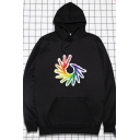 Casual Hooded Sweatshirt Multicolor Lines Pattern Pocket Drawstring Long Sleeve Relax Fitted Hoodie for Men