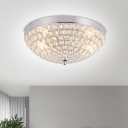 2-Light Clear Crystal Octagon Flush Mount Chrome Dome Shade Bedroom Ceiling Flushmount Lamp