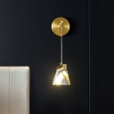 Clear Crystal Pyramid Wall Hanging Light Postmodern Bedside LED Sconce Light in Brass
