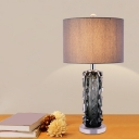 1-Light Table Lighting Modern Cylindrical Textured Green Crystal Night Stand Lamp with Fabric Lampshade