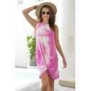 Stylish Holiday Bandhnu Twist Crew Neck Short A-line Tank Dress for Women