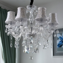 8-Bulb Crystal Chandelier Light Fixture Traditional Clear Bell Living Room Ceiling Light with Fabric Shade