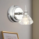 Modern Mini Conic Wall Light Fixture Single Clear Crystal LED Wall Mount Lamp for Bathroom