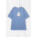 Leisure Cartoon Bunny Print Short Sleeve Crew Neck Relaxed Fit Tee Top for Girls
