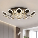 Black/White Leaf Ceiling Flush Light Modern Acrylic 10/12-Bulb Parlor Flushmount in Warm/White Light with Crystal Drop