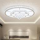 Crystal Encrusted Flower Ceiling Flush Contemporary Living Room LED Flush Mount Light in White, 19.5