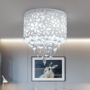 Acrylic White Flush Light Fixture Cylindrical Hollowed Out 4-Light Modern Ceiling Lighting with Crystal Drop