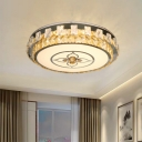 Clear Cut Crystal Tambour Flush Mount Simple Bedroom LED Flush Ceiling Light Fixture