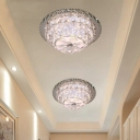 Tiered Beveled Crystal Ceiling Light Modernist Foyer LED Flush Mount Lamp in Nickel