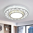 2-Layered LED Flush Mount Lighting Contemporary Stainless Steel Crystal Ceiling Light Fixture