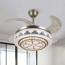 Stainless Steel LED Fan Light Fixture Modern Crystal Embedded Drum Semi Flush Mount Ceiling Light with 4 Blades, 19