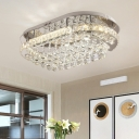Bevel Cut Glass Oval Semi Flush Mount Modern Stainless-Steel LED Ceiling Light Fixture with Dropped Crystal Balls