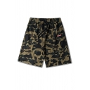 Cool Fashion Camouflage Printed Drawstring Waist Relaxed Sports Sweat Shorts for Men