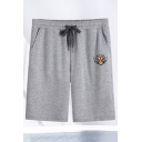 Creative Men's Shorts Fire Lion Head Printed Pockets Drawstring Waist Knee Length Straight Fit Sweat Shorts