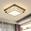 Simple Round/Square Ceiling Light Fixture Cut Crystal LED Flushmount in Chrome for Bedroom