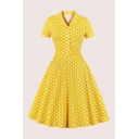 Novelty Polka Dot Printed Buckle Belted Single Breasted Turn Down Collar Short Sleeve Midi A-Line Dress for Ladies