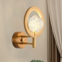 Seedy Crystal Ball Wall Lighting Post-Modern Living Room LED Sconce with Hoop in Gold