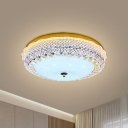 Dome LED Flush Mount Light Fixture Modern Beveled Crystal Drawing Room Close to Ceiling Lamp in Gold