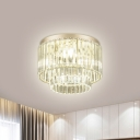 Silver 3 Layers Flush Mount Fixture Modern 3/4 Heads Clear Crystal Ceiling Mounted Light for Restaurant