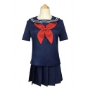 Womens Fancy Sailor Collar Bow Tied Relaxed Tee & Mini A-line Pleated Skirt Co-ords in Navy