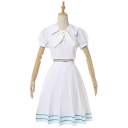 Trendy White Short Sleeve Sailor Collar Tied Striped Mid Pleated A-line Dress Co-ords with Socks and Headband