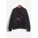 Leisure Cartoon Bee Letter Kind Graphic Long Sleeve Mock Neck Relaxed Fit Pullover Sweatshirt