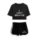 Cool Girls Letter I Can't Breathe Print Short Sleeve Crew Neck Regular Crop Tee & Contrasted Relaxed Fit Shorts Set