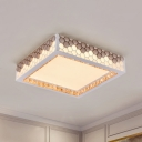 White Square Flush Light Fixture Modern Style LED Crystal Ceiling Flush Mount with Hexagon Design