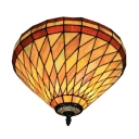 Diamond Pattern Flush Mount Ceiling Light in Tiffany Style with 16