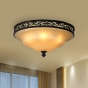 Frosted White Glass Bell Flush Light Traditional Living Room LED Ceiling Lamp in Black, 16.5